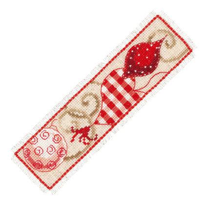 Vervaco PN-0021862 Bookmark Red Christmas ornaments aida