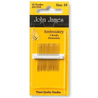 John James Needles JJ13510 Embroidery Size 10