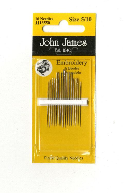 John James Needles JJ13550 Embroidery Size 5/10