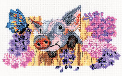 "RTO M320 Cross-stitch kit ""Naughty pig"""