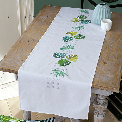 Vervaco PN-0165756 table runner kit botanical leaves