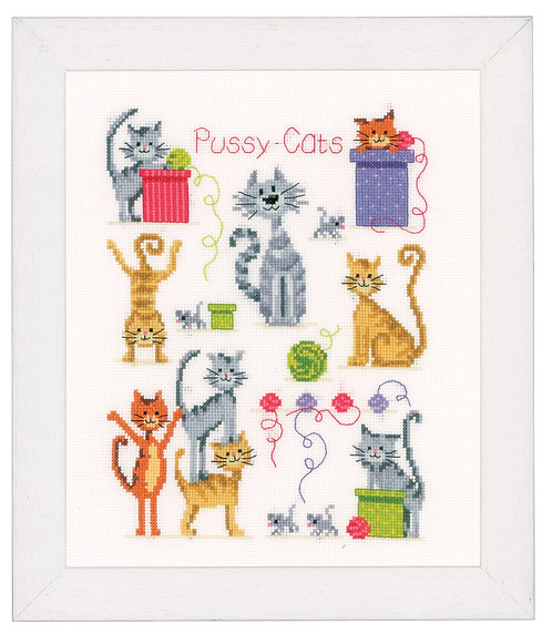 Vervaco PN-0143719 Counted Cross Stitch Kit Pussy cats aida