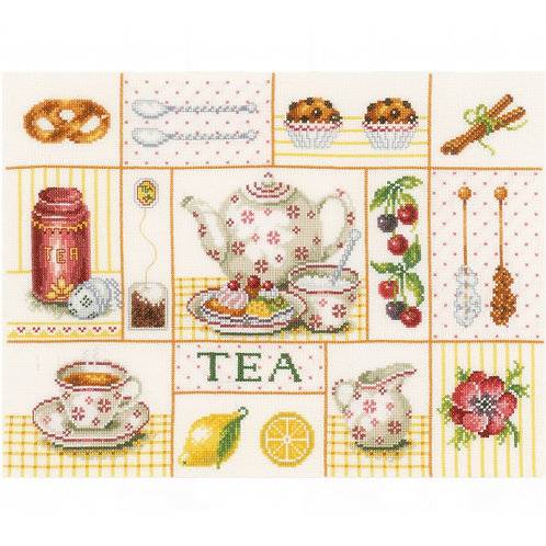 "Lanarte PN-0163387 Counted Cross Stitch Kit ""Tea Party"" Counted Fabric"