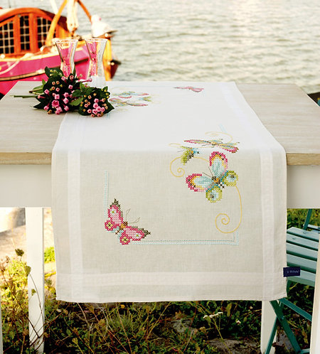 "Vervaco PN-0155755 Pre-Printed Table Runner ""Butterflies"""