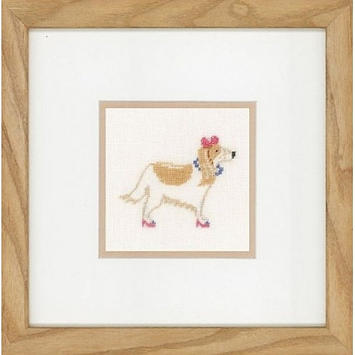 """Lanarte PN-0148695 Counted Cross Stitch Kit """"Dog with Pink Bow"""" Linen"""
