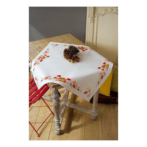 Vervaco PN-0155619 aida tablecloth kit hedgehog and mushrooms