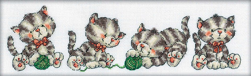 "RTO M160 Cross-stitch kit ""Four Kittens"""