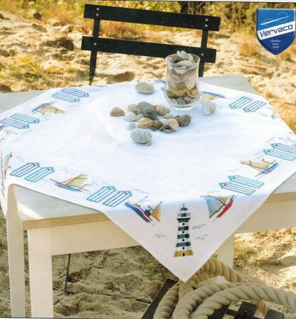 Vervaco PN-0145846 aida tablecloth kit on the seaside