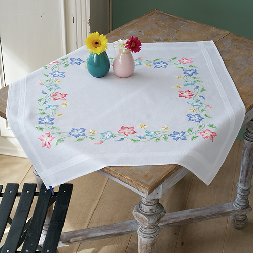 Vervaco PN-0153985 tablecloth kit pink and blue flowers