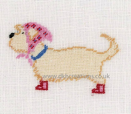 """Lanarte PN-0148261 Counted Cross Stitch Kit """"Dog in Scarf"""" Linen"""
