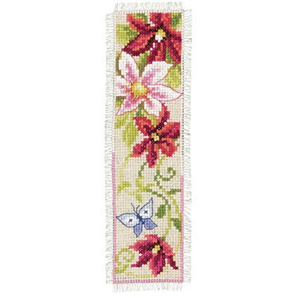 Vervaco PN-0148356 Bookmark Red Flowers aida