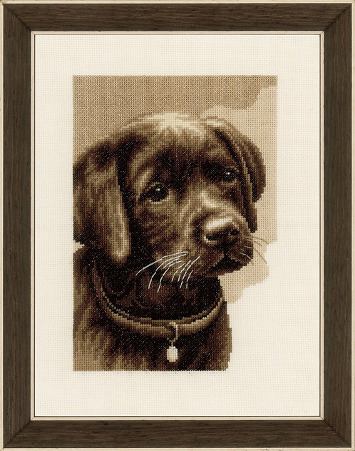 Vervaco PN-0158080 counted cross stitch kit labrador puppy