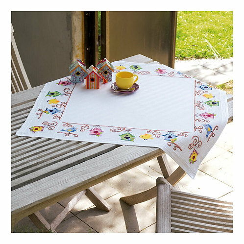 Vervaco PN-0148593 aida tablecloth kit birds and bird house