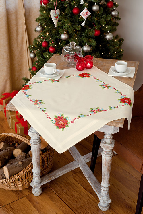 Vervaco PN-0150997 Pre-Printed Tablecloth Poinsettia and Ribbons