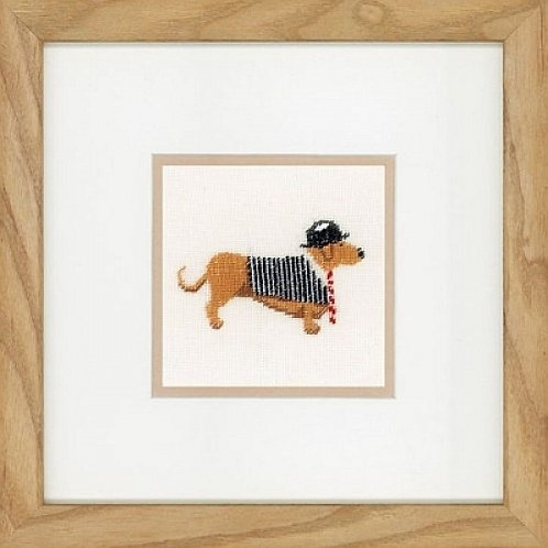 """Lanarte PN-0148260 Counted Cross Stitch Kit """"Dog in Bowler"""" Linen"""