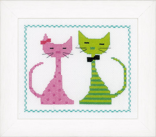 Vervaco PN-0149498 Counted Cross Stitch Kit Pink & green cat aida