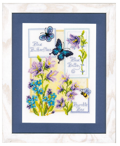 Vervaco PN-0146579 Cntd Cr Stitch Blue Butterflies and Blue Bells
