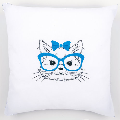 """Vervaco PN-0155965 Embroidery Cushion """"Cat with Blue Glasses"""""""
