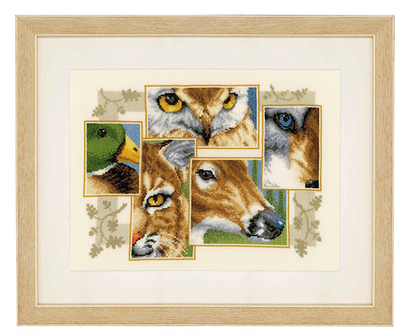 "Vervaco PN-0145247 Counted Cross Stitch Kit ""Wildlife Collage"" Aida"