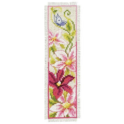 Vervaco PN-0148355 Bookmark Pink Flowers aida