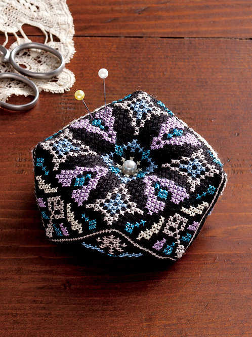 LECIEN 7782 Octagonal Pincushion: Black & Purple