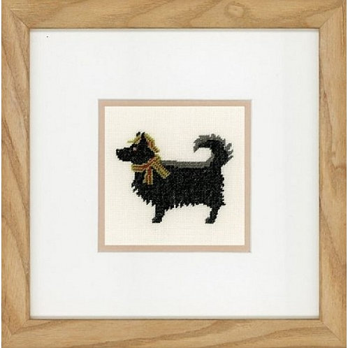"Lanarte PN-0148263 Counted Cross Stitch Kit ""Dog in Hat"" Linen"