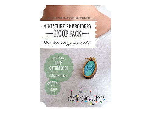 Dandelyne 2.7cm x 4.5cm OVAL miniature embroidery hoop with brooch back