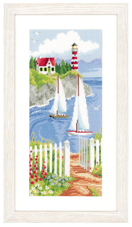 Vervaco PN-0021738 Cntd Cross Stitch Kit Sailboats in a bay aida