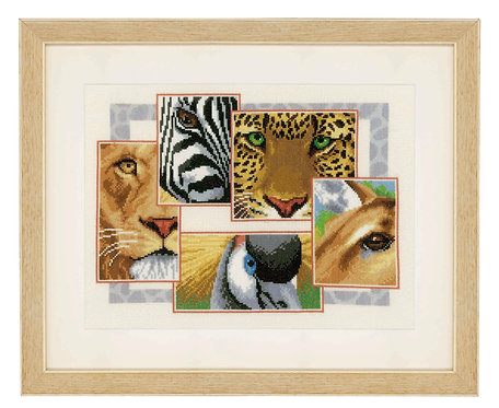 "Vervaco PN-0145248 Counted Cross Stitch Kit ""Wildlife Collage"" Aida"
