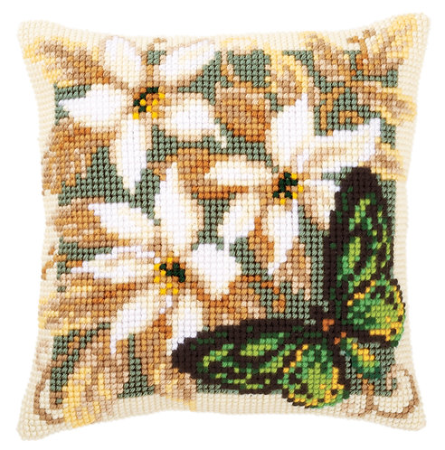 Vervaco PN-0146841 Cross Stitch Cushion Green Butterfly