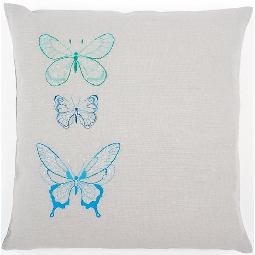 "Vervaco PN-0157407 Embroidery Cushion ""Blue Butterflies"""
