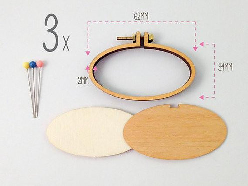 Dandelyne 3 packs of 6.2x3.4cm OVAL miniature hoops with necklace & brooch
