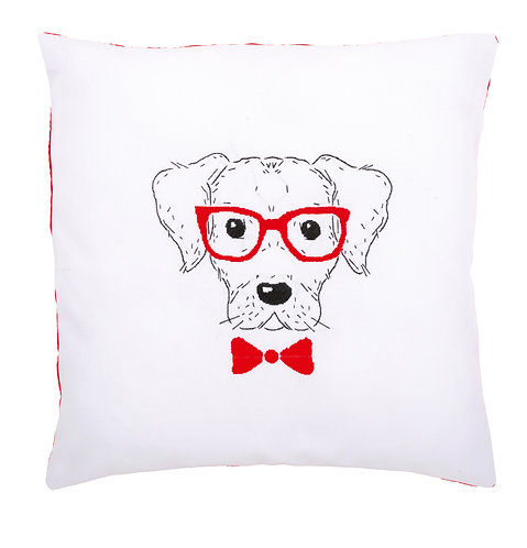 """Vervaco PN-0155963 Embroidery Cushion """"Dog with Red Glasses"""""""