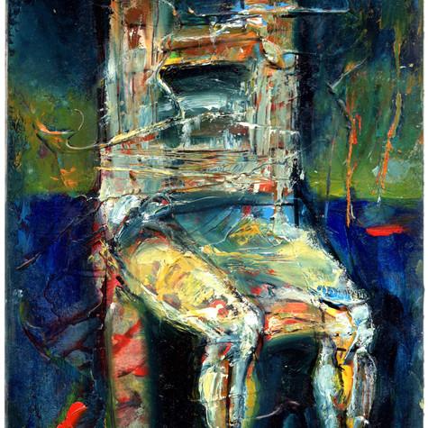 """""""Ukrzesłowiony"""" - w hołdzie artyście malarzowi Andrzejowi Wróblewskiemu, z cyklu """"małe formy malarskie"""""""