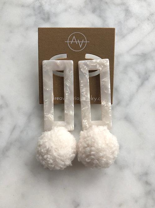 Ivory Pom Pom Earring