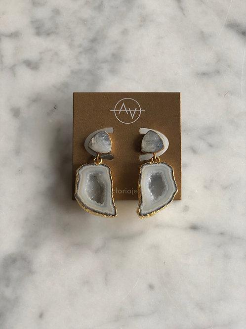 Blue Agate & Labradorite Earrings