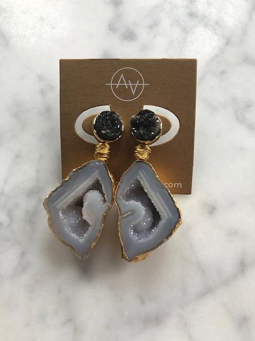 Druzy & Agate Drop Earring