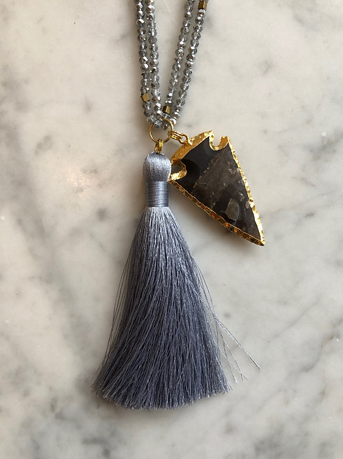 Arrowhead and Tassel Necklace