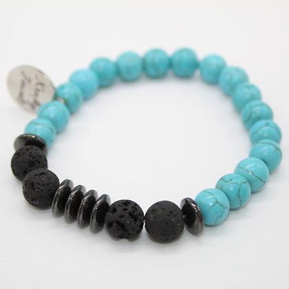 Turquoise & Hematite Aromatherapy Bracelet