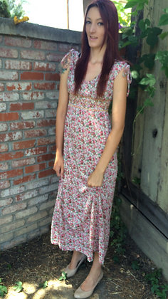 Pink Floral Cinched Waist Maxi