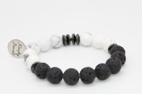 White Marble & Hematite Aromatherapy Bracelet