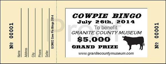 Cow Pie Bingo Ticket