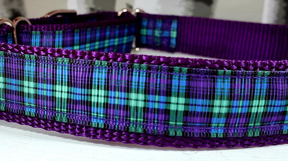 "1"" Purple Gingham Martingale Dog Collar or Leash"