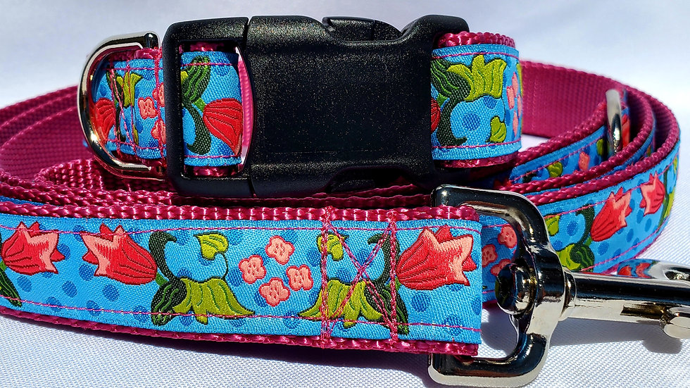 """1"""" Pink Tulip Floral Dog Collar, Martingale, Harness, or Leash"""