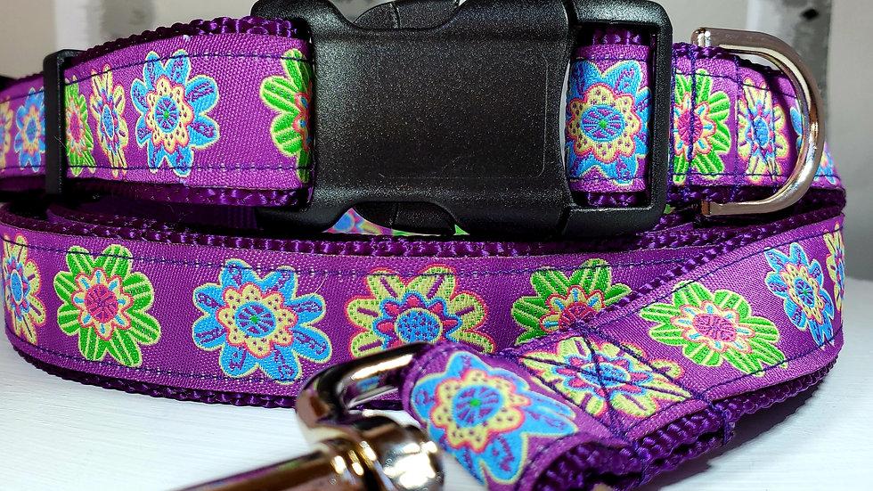 "1"" Purple Flower Dog Collar or Leash"