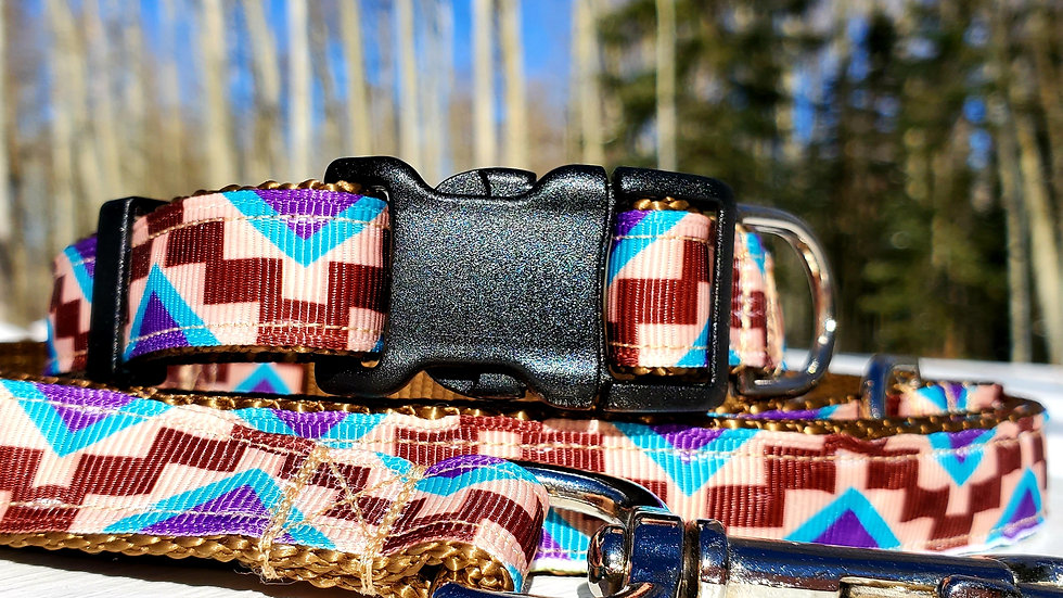 "3/4"" Brown Aztec Southwest Dog Collar, Leash, Martingale, Harness"