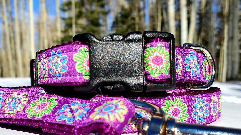 "3/4"" Purple Jaquard Floral Dog Collar, Leash, Martingale, Harness"