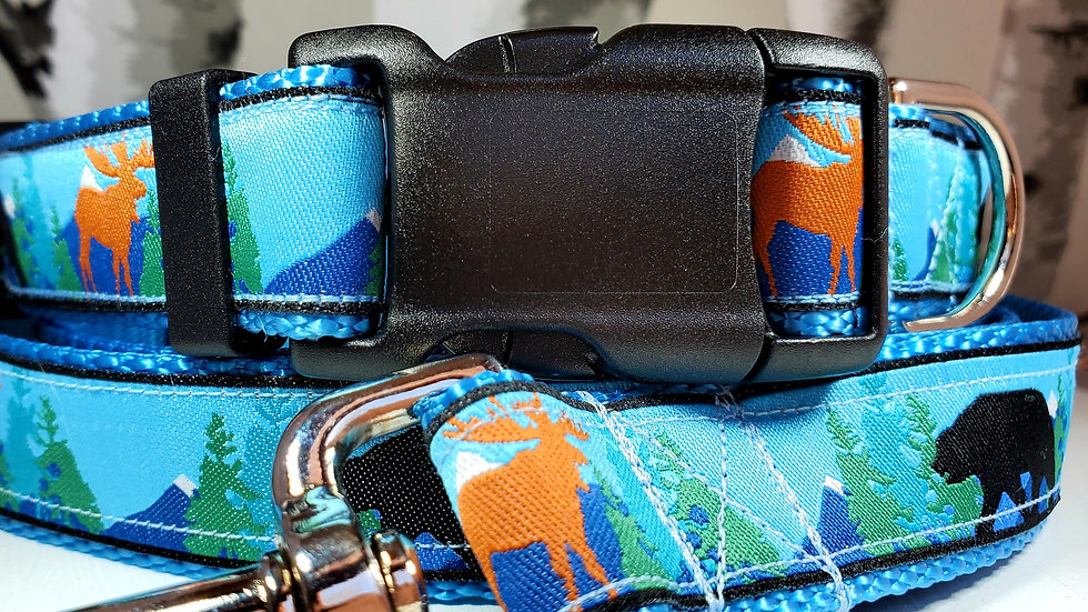 """1"""" Bear and Moose Dog Collar, Martingale, Harness, or Leash"""