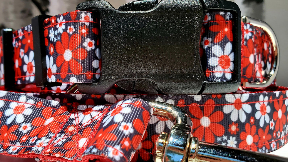 """1"""" Red Floral Dog Collar, Martingale, Harness, or Leash"""
