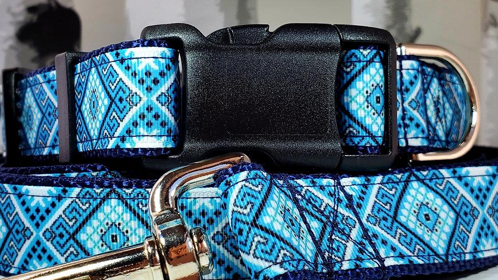 "1"" Blue Tribal Dog Collar, Martingale, Harness, or Leash"